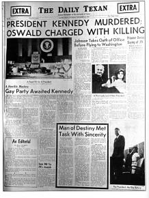 Daily Texan front page November, 1963
